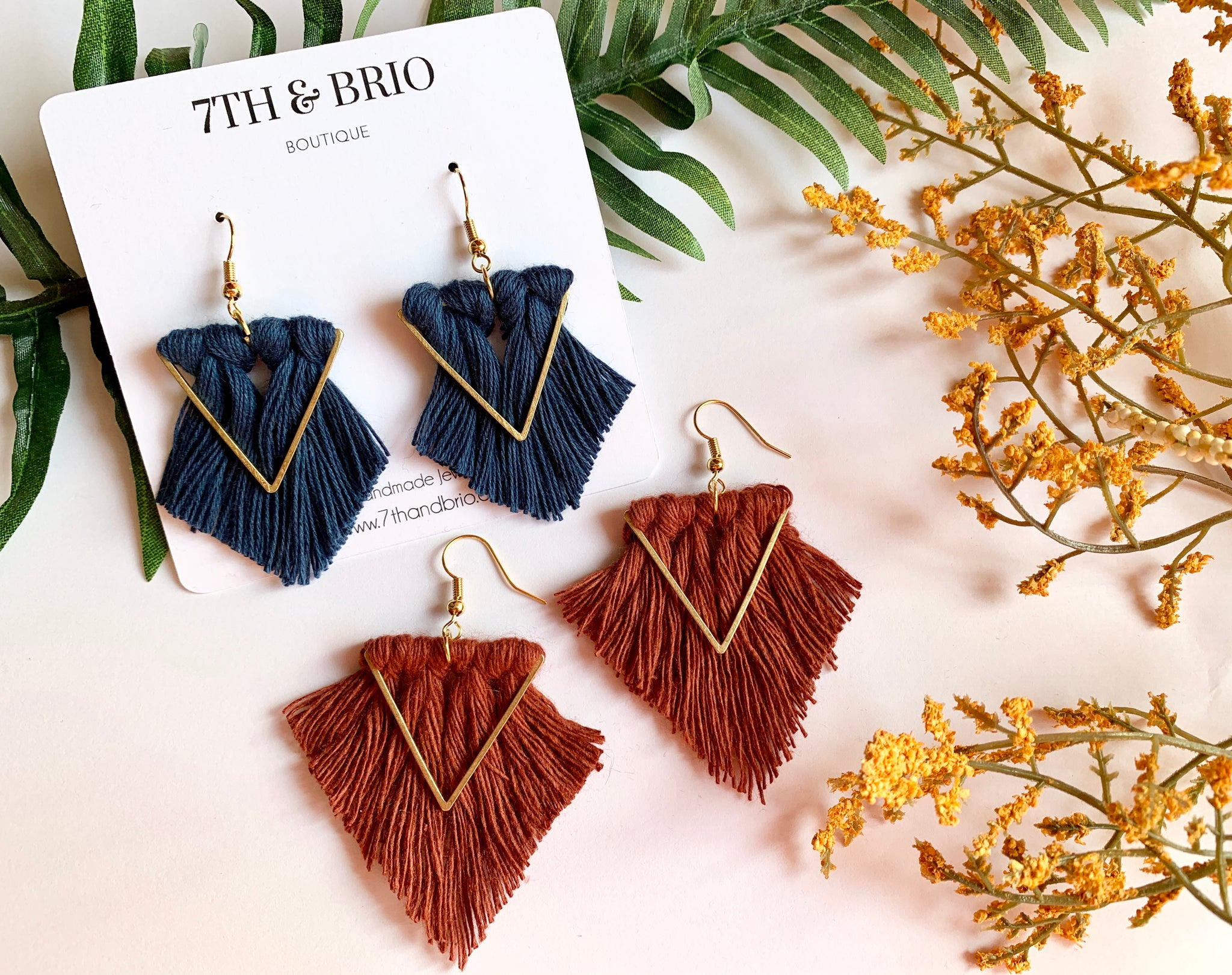 Brass Triangle Macramé Earrings