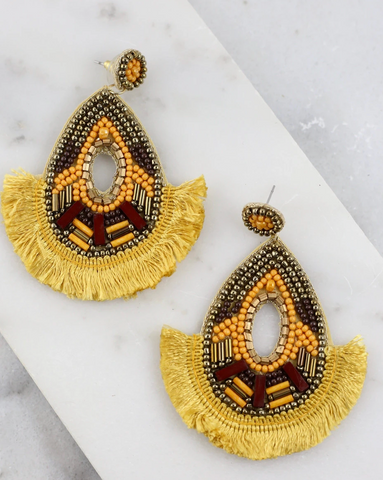 Fringe Teardrop Beaded Post Earring