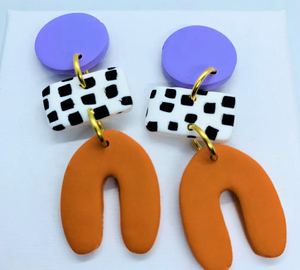 Dotty - Shape Earrings Lavender and Orange