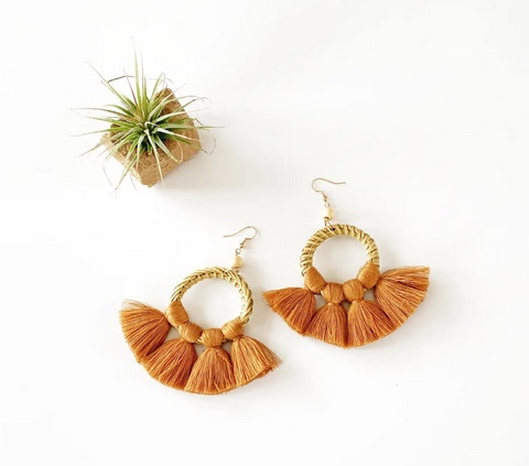Rattan and Fan Fringe Earrings