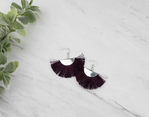 Plum Fringe Fan Earrings - Silvertone