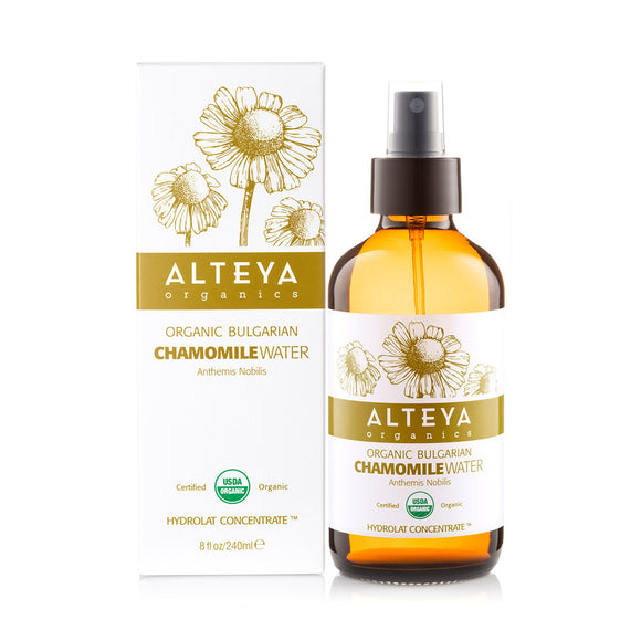 Organic Bulgarian Chamomile Roman Water 240 ml - Amber Glass Spray Bottle - Alteya Organics UK