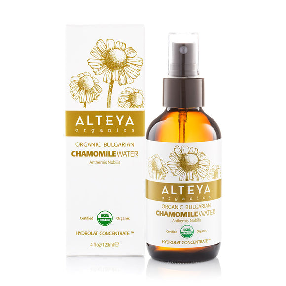 Organic Bulgarian Chamomile Roman Water 120 ml - Amber Glass Spray Bottle - Alteya Organics UK