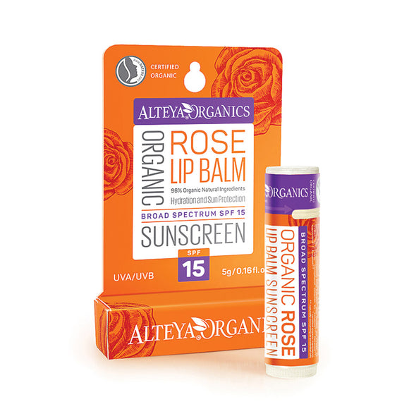 Organic Sunscreen Lip Balm Rose SPF15 - Alteya Organics UK