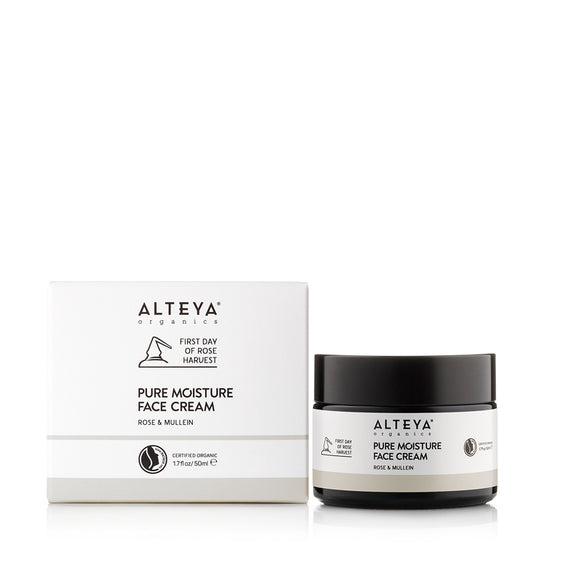 Organic Pure Moisture Face Cream Rose & Mullein 50ml - Alteya Organics UK
