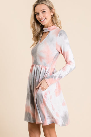 Tie dye asymmetrical dress