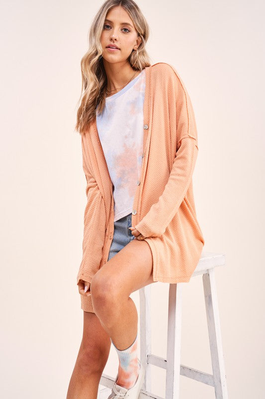 Button me up cardigan - cantaloupe