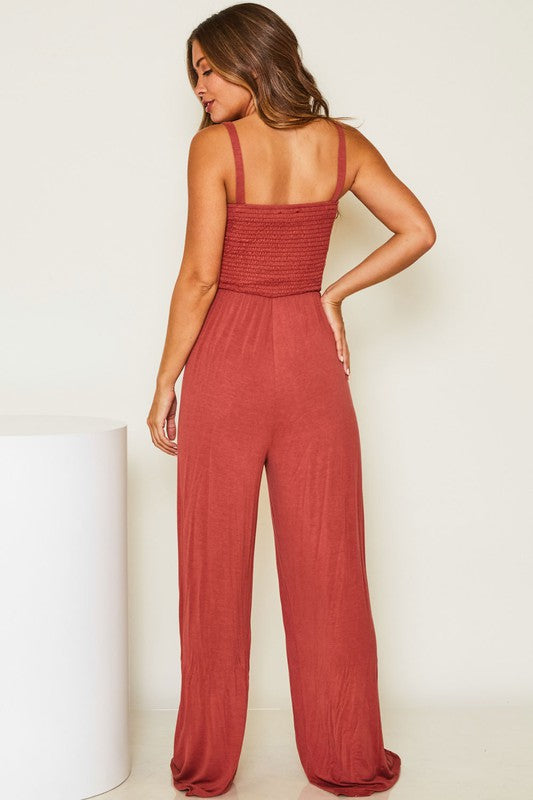 Smocked top jumpsuit