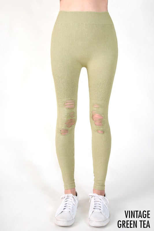 Distressed leggings - olive