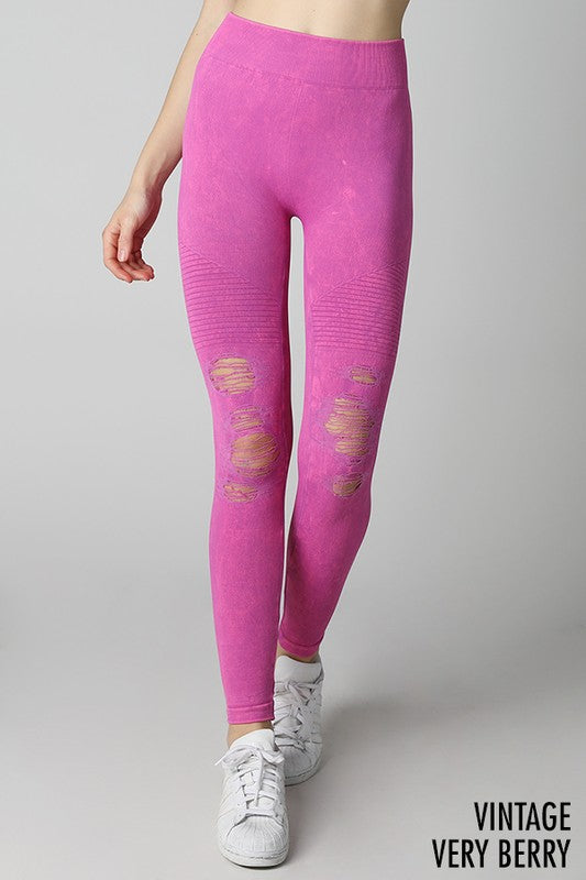 Destroyed Leggings - Berry