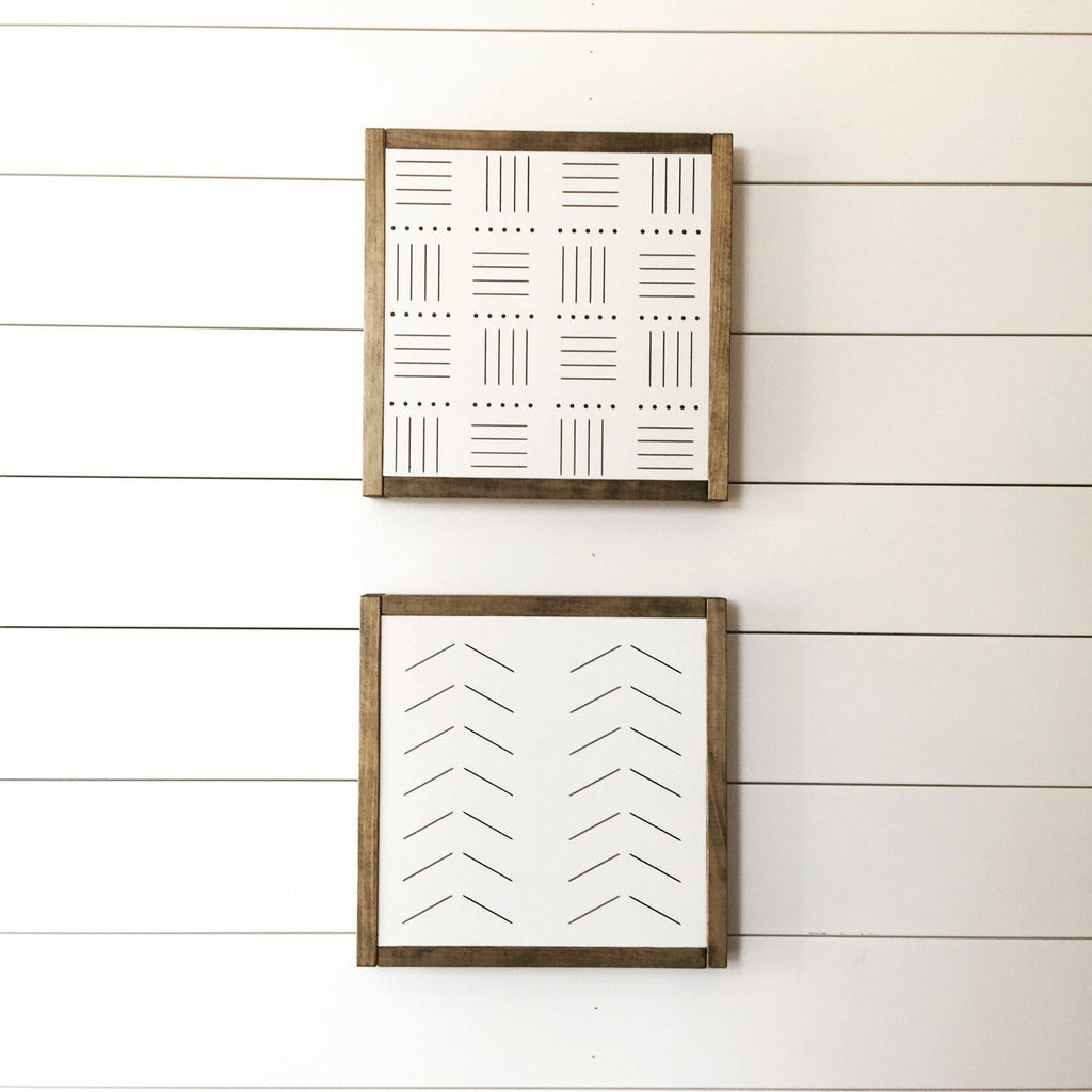 FRAMED WOOD SIGN - MUDCLOTH - SET OF 2