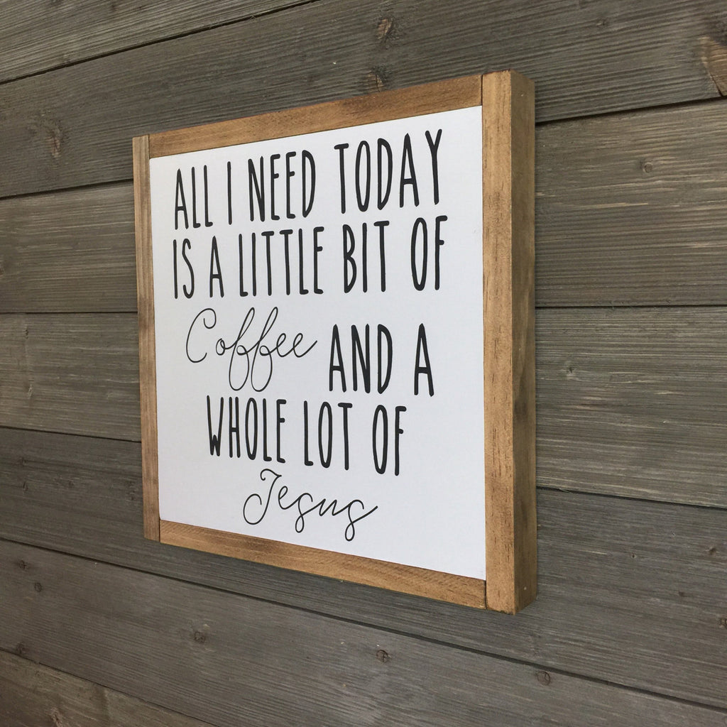 FRAMED WOOD SIGN - COFFEE & JESUS