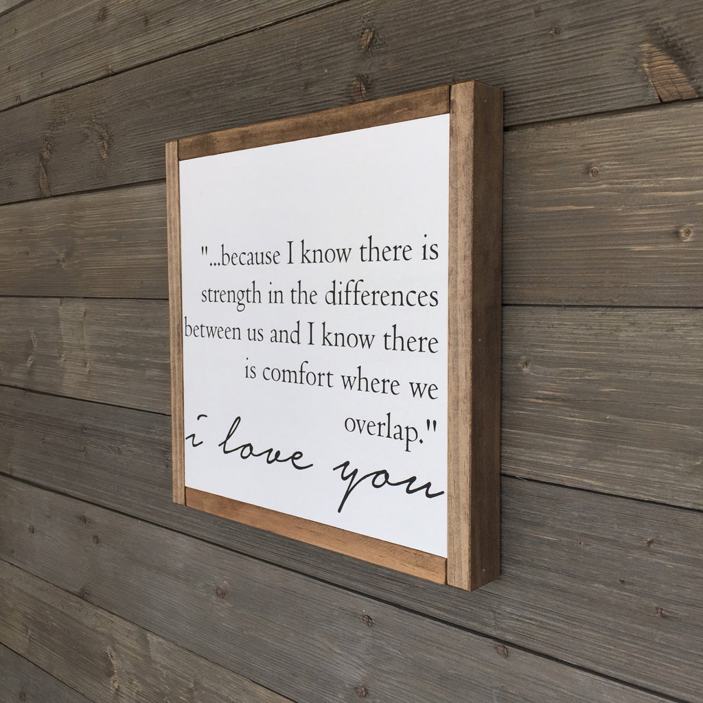 FRAMED WOOD SIGN - I LOVE YOU