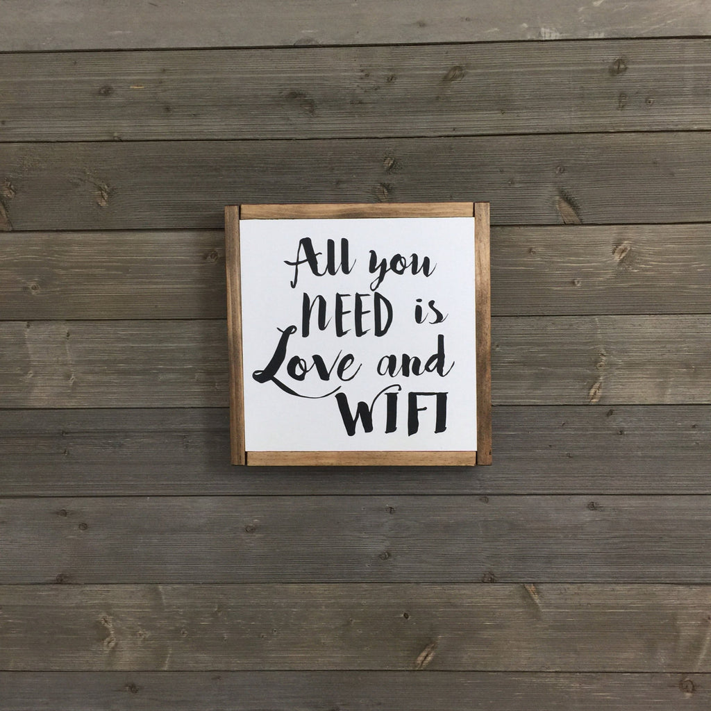 FRAMED WOOD SIGN - LOVE & WIFI