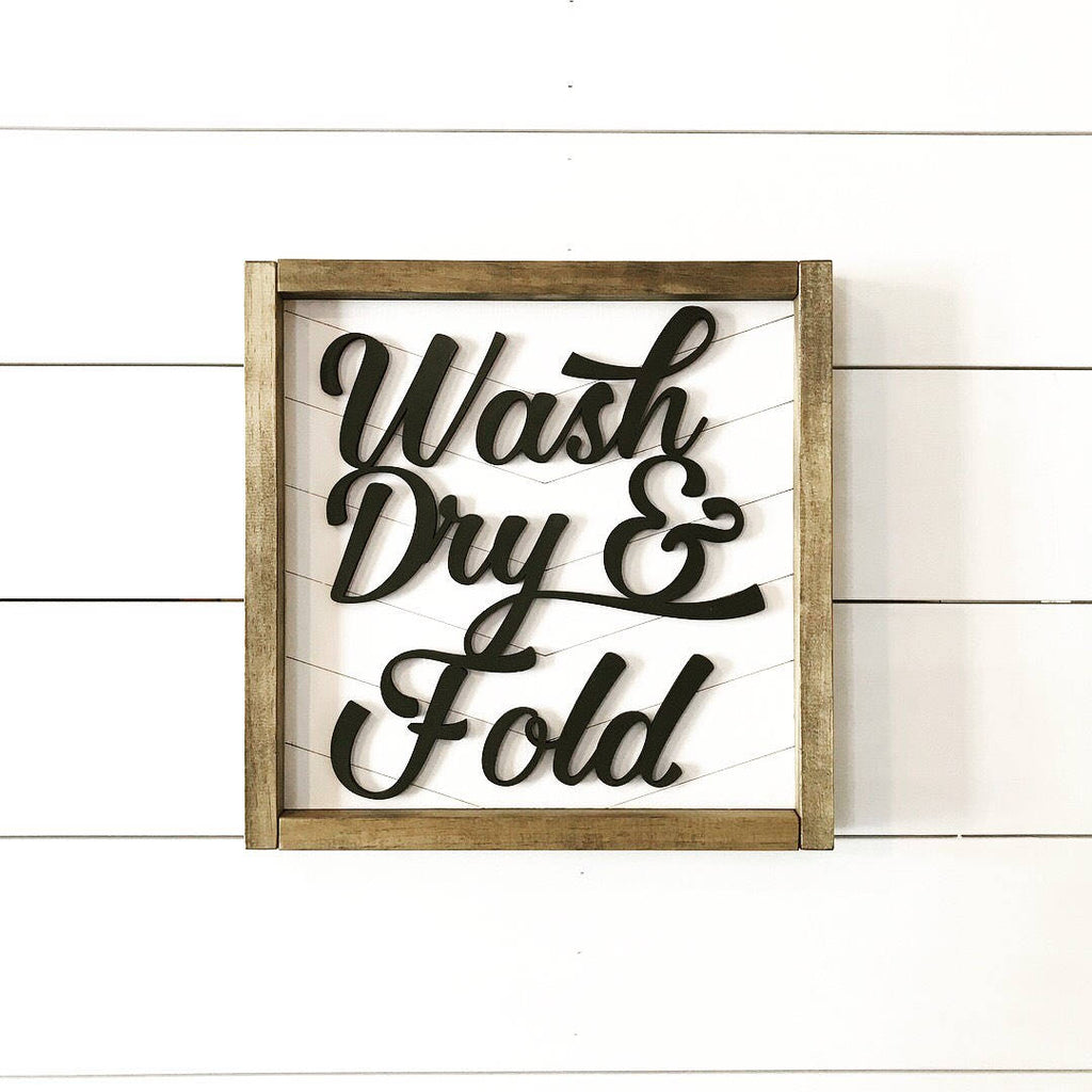 FRAMED WOOD SIGN - 3D - LAUNDRY