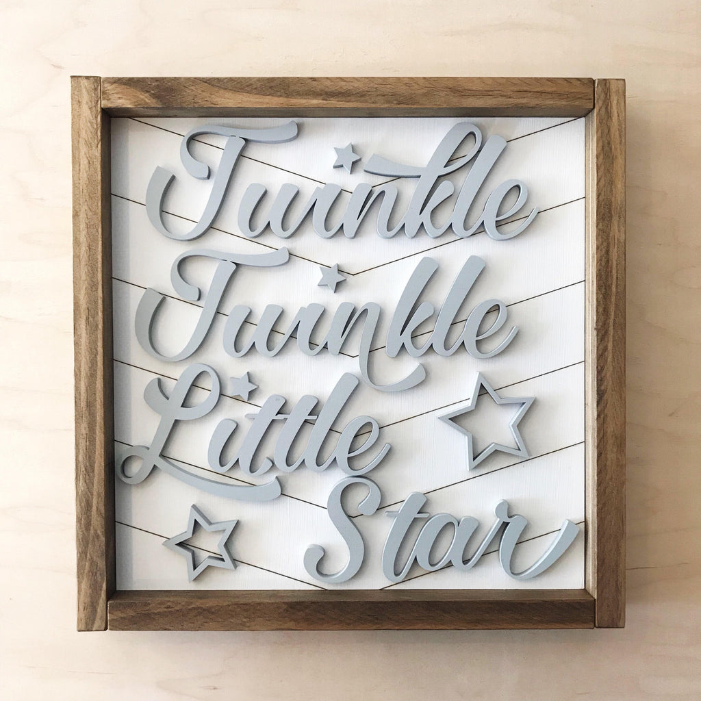FRAMED WOOD SIGN - 3D - TWINKLE TWINKLE