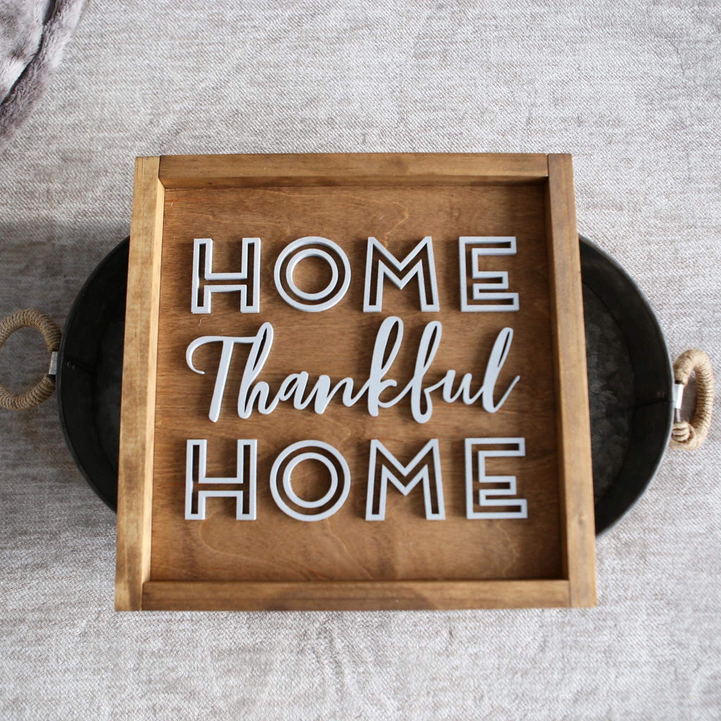 HOME THANKFUL HOME WOOD SIGN