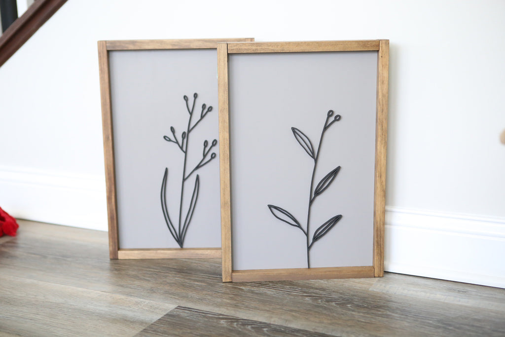3D FRAMED SIGN - BOTANICAL SET OF 2
