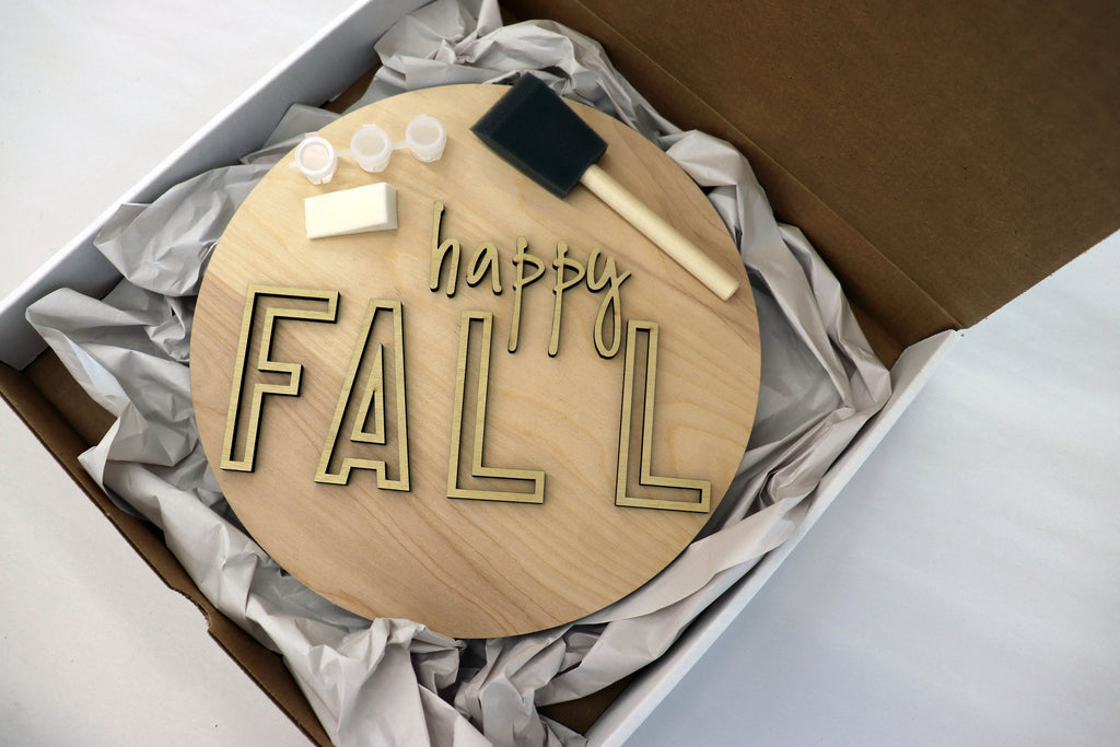 Fall DIY kit, wood holiday kit, craft kit, Wood cut outs, Happy fall, 11 inch round sign