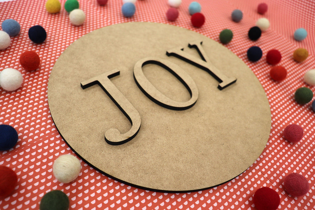 Christmas DIY kit, wood holiday kit, craft kit, Wood cut outs, Joy, 11 inch round sign