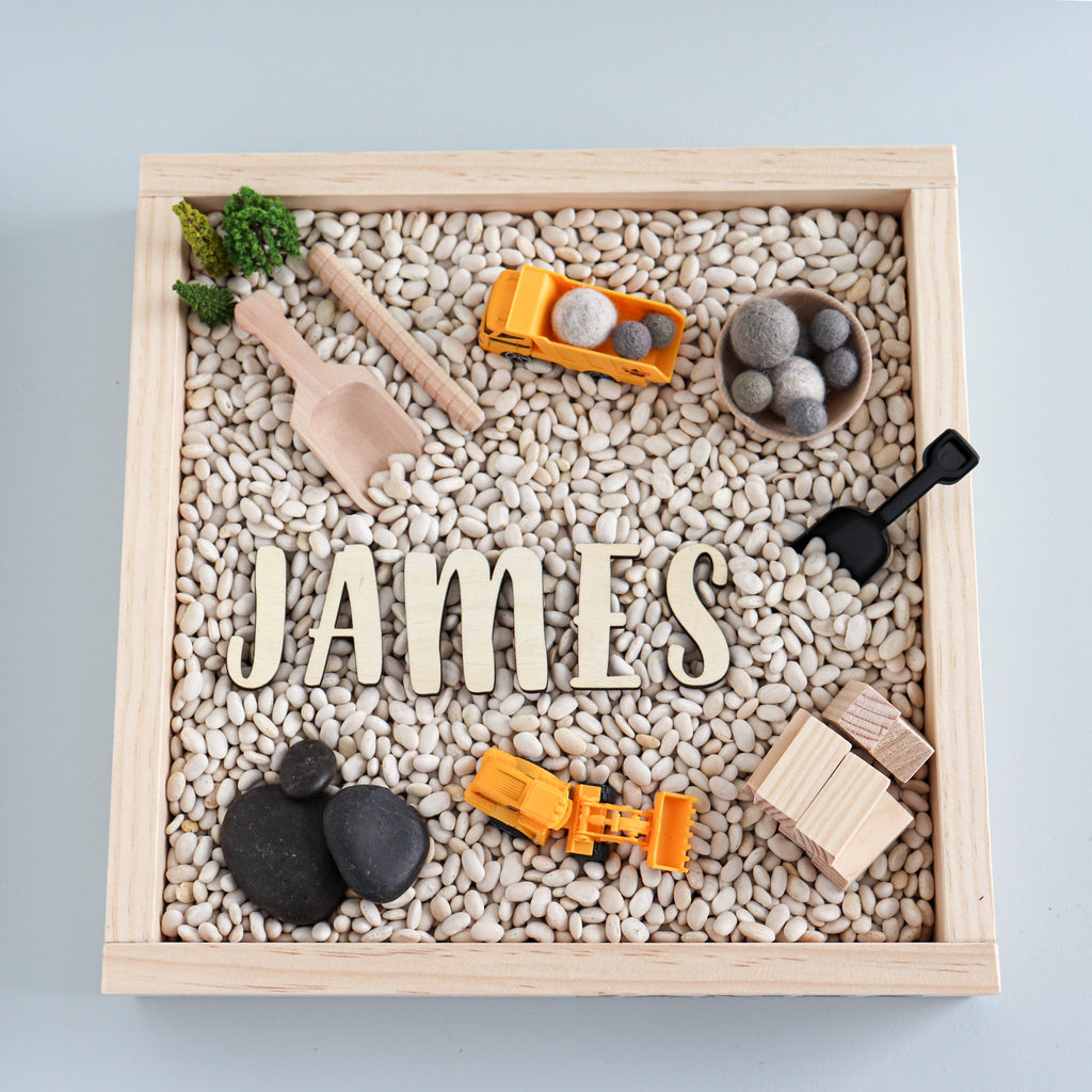 Kids Sensory Kit, Construction sensory bin, montessori play kit, personalized sensory kit, personalized sensory tray