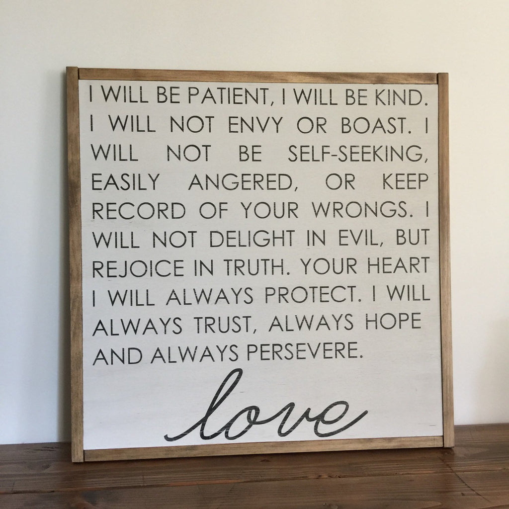 FRAMED WOOD SIGN - LOVE IS PATIENT - LARGE