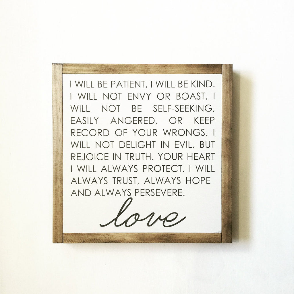 FRAMED WOOD SIGN - LOVE IS PATIENT