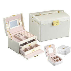 The Best Selling Products in the store-Three-Layer Jewelry Display Storage Case with Automatic Lock and Mirror