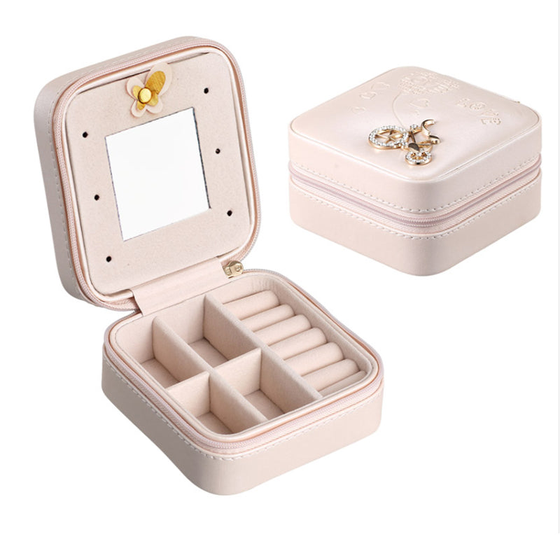 Trendy style-Portable Travel Jewelry Case Earring Holder Necklace Organizer Jewelry Case