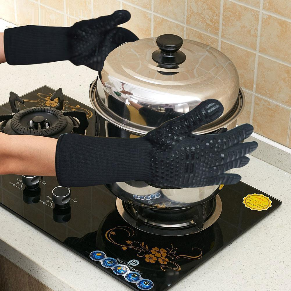 BBQ Gloves 932°F Extreme Heat Resistant Oven Gloves For Cooking, Grilling, Baking - Extra Long Cuff