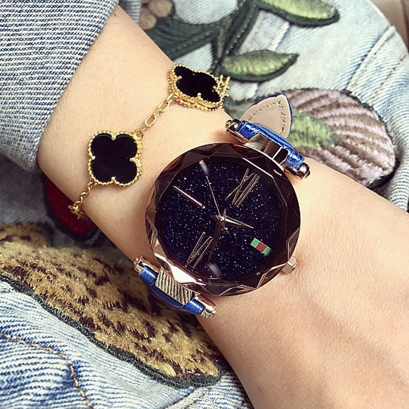 New Starry Female Watch Rose Gold Woman Quartz Watch Top Brand Luxury Ladies Fashion Table Roman Scale Waterproof Clock Student