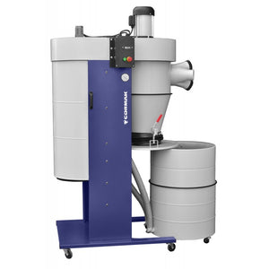 mobile cyclone dust extraction machine close up with castors