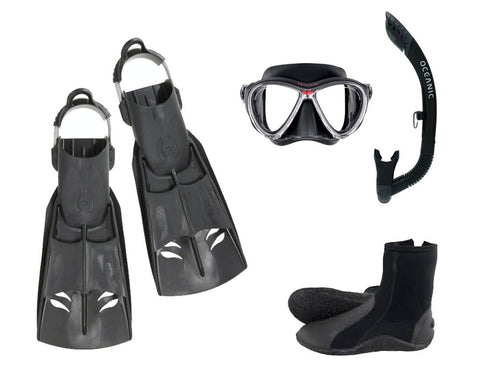 Hollis F2 Mask Snorkel and Fins Package - Frog Dive