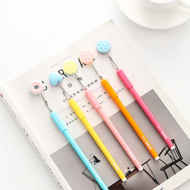 2Pcs/lot Cute Sweet Doughnut Pendant Gel Pen