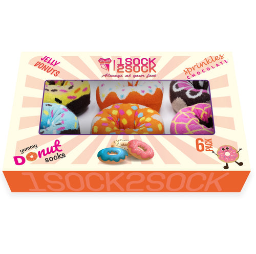 Donut Socks Gift Box Colorful & Soft Cotton Crew Socks - 6 pack