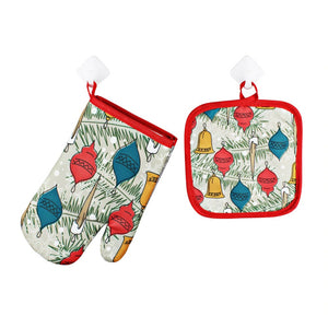 2pc Set Christmas Pot Holder and Mittens