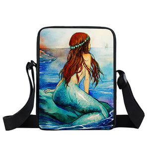 Fantasy Mermaid Crossbody Messenger Bag For Kids