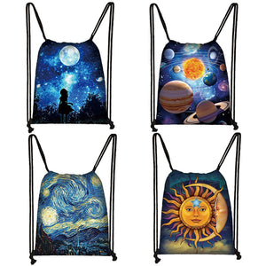 Starry Night Galaxy Print Drawstring Bag