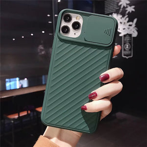 Soft Silicone Phone Case For iPhone with Camera Shield Slide