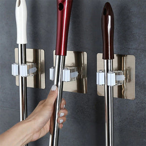 Strong Adhesive Multi-purpose Wall Mounted Mop Holder