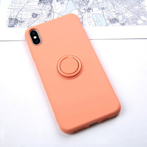 Soft Silicon Case With Ring Stand Holder For iPhone