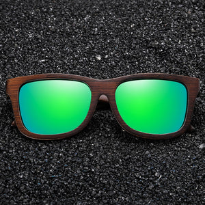 Natural Bamboo Wooden Sunglasses With Polarized Mirror Coating Lenses