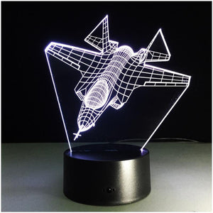3D Aircrafts Illusion Night Light Table Lamp - 3D Aircrafts Illusion Night Light Table Lamp