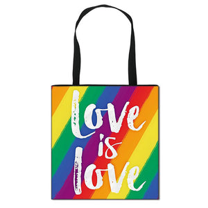 Reusable LGBTQ Pride Love Rainbow Fashion Tote Shoulder Bags