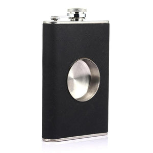 8oz Flagon Hip Flask Folding Cup-TrendyVibes.CO