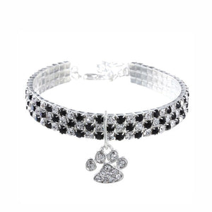 Dazzling Rhinestone Bling Collar with Paw Pendant