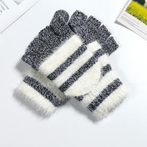 Cute Striped Fingerless Winter Gloves