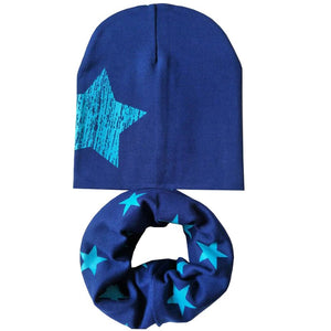 Printed Winter Hats and Neck Collar Beanies Set For Kids