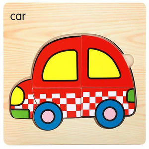 Montessori Educational Wooden Animal and Transportation Puzzles
