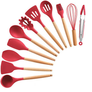 Silicone Kitchen Utensils Set with Wooden Handle